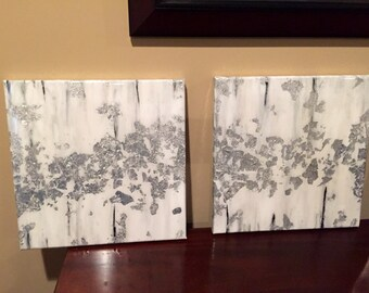 Silver Leaf and Acrylic Abstract Painting with High Gloss Resin - 12x12
