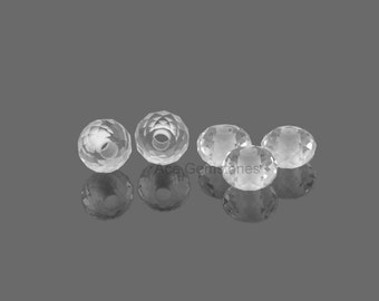 Big Hole Beads, Crystal Faceted Gemstone Rondelle European Style Large Hole Beads For Necklace and Bracelet - 5 Pcs.