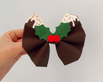 Christmas Pudding Hair Bow