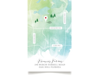The HAYLEY Map . Custom Wedding Map Illustration 4 x 9 card . Create your own Map Directions Details . Calligraphy & Watercolor . PDF