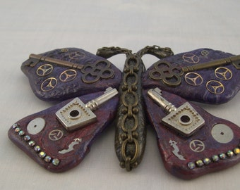 Steampunk Butterfly Pin, Polymer Clay, Butterfly Pin- Great Accent Piece!