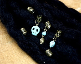 Turquoise dread bead set/turquoise and brass dread beads/8 mm hole beads/adjustable cuff beads/leaf dread beads/skull dread beads/dreadlock