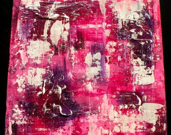 """20x20"""" Original Abstract Art Pink Purple Painting Texture Painting """"Sit Still, Look Pretty"""" 20x20 Abstract Acrylic Panel"""