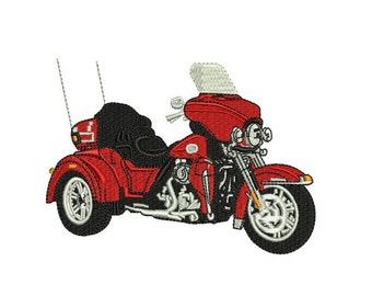 Harley Trike Motorcycle embroidery pattern Machine embroidery design Digital Download