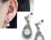 Wedding Clip On Earrings White Opal Rhinestone Invisible Clip On Earrings Bridal Clip Earrings Crystal Clip On Non Pierced Earrings