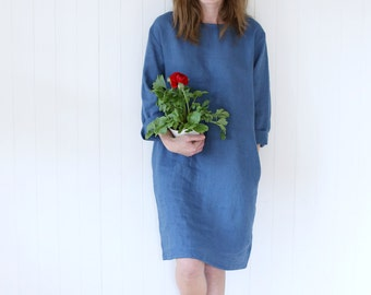 Casual Linen Dress | Working Tunica | Dress With Side Pockets | Tunica Dress | Gardening Dress | Washed Linen Dress