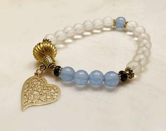 Aquamarine Bracelet. Heart Bracelet. Mala Bracelet. Yoga Bracelet. Crystal Quartz Bracelet. Reiki Bracelet. Mala Beads. Love Bracelet. #M61