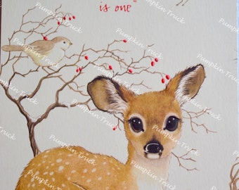 Vintage Christmas Card - Fawn Deer in Snow Fold Out - Used