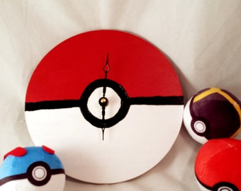 Pokeball Wall Clock FREE USA Shipping as seen in PokeCenters and Hospitals from Pokemon Indigo League Hand Painted Wooden Real Working Clock