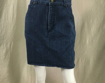Jordache Denim Skirt 80s Pencil Skirt Snakeskin Print // Retro Hipster Style Side Zippers