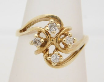 0.25 Carat T.W. Ladies Round Cut DiamondCluster Ring 10K Yellow Gold