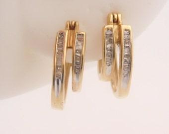0.25 Carat T.W. Baguette Cut Diamond Cluster Earrings 14K