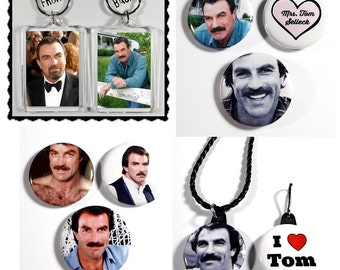 Tom Selleck Fan Set - Keychain Magnets Pinback Buttons Necklace Bag Clip/Zipper Pull 9 Items Total
