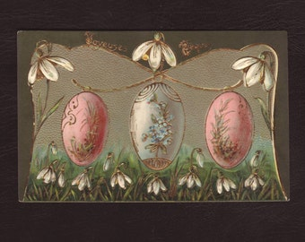 Decorated easter eggs and snowdrops, German postcard - Embossed, white flowers, antique postcard, art nouveau greeting card - 1907 (V7-17)