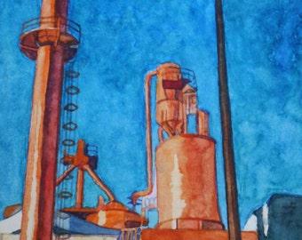 Original Peach Factory Industrial Building Watercolor Painting. Industrial painting. Watercolor art. Industrial wall art. Industrial decor.