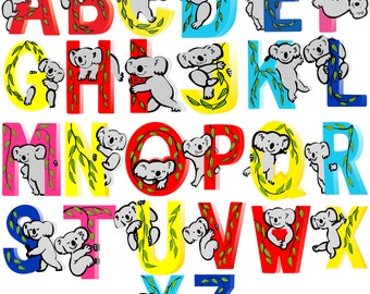 Koala Wooden Alphabet Letters for Children Names on Doors or Walls or Toy Boxes, Personalised Gifts, Name Signs