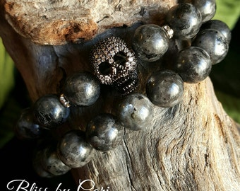 Larvikite Beaded Stretch Bracelet Duo with Micro Pave Skull Bead *FREE SHIPPING*