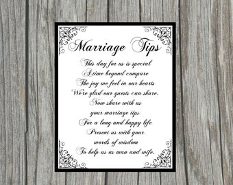 "DIY Printable ""Marriage Tips"" Sign for Wedding Shower, Reception or Anniversary 8x10 Sign"