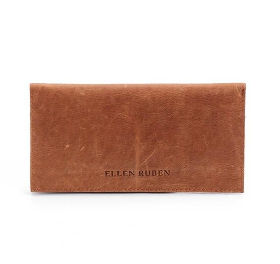 Brown Leather Wallet / Big Wallet / Distressed Leather Wallet / Checkbook Coins Handmade Purse / Unisex Wallet / Cards Slots Wallet - Kipper