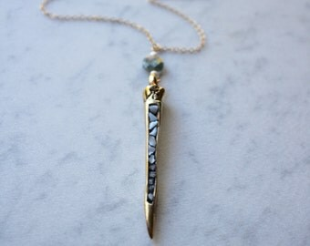 Golden Brass Mother of Pearl Spike Pendant Necklace