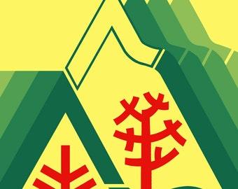 Hood River Poster, Oregon, Vintage Travel Poster, Carefree Enjoyment Season to Season