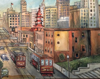 Mid Century Painting Modern Art Original Painting Signed San Francisco 1950 50s City Trolley Buildings Vintage Painting