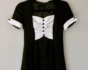 Vintage Evening Dress Black Maxi Tuxedo Small