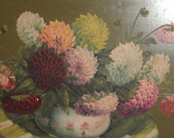 Large vintage oil painting still life with flowers