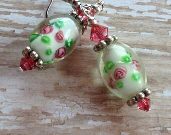 Lampwork Beaded Earrings, Lampwork Earrings, Pink Flower Earrings, Gift For Her, Dangle Earrings, Glass Earrings