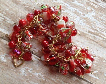 Bracelet,Red Glass Lampwork Bracelet, Lampwork Bracelet, Beaded Bracelet, Beadwork Bracelet, Gift For Her
