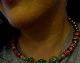 "handmade necklace, OOAK ""My Pad""  Nature, Woodland, Humor, Frog, Boho, Hippie, Geekery, Hipster, Cute, Fashion, Kawaii, Kitsch"