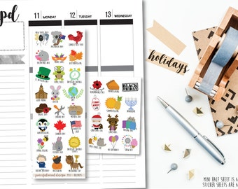 2017 Holiday and Observances - Planner Stickers - FS57