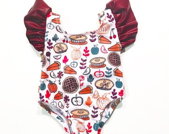 Thanksgiving Outfit - Baby Girl Clothes - Baby First Thanksgiving Outfit - Toddler Leotard - Fall Outfit - Thanksgiving Onesie - Bodysuit
