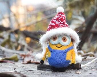 Needle felted Minion, Christmas ornaments, Christmas Gift