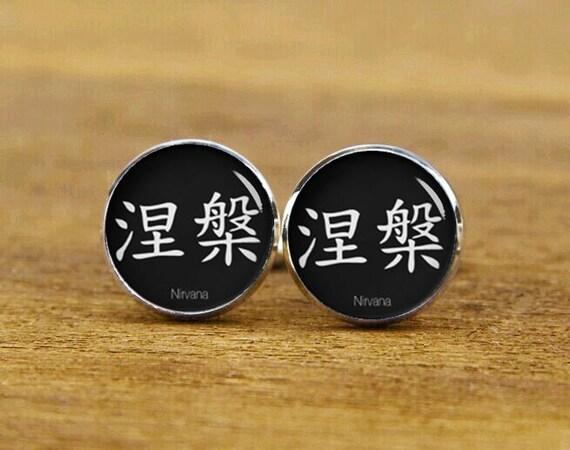 Nirvana Kanji Cufflinks, personalized fonts cuff links, custom characters cufflinks, gifts, square cufflinks, tie clip or a matching set