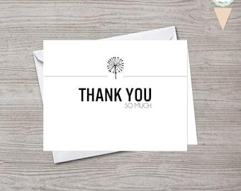 Minimalist Dandelion Thank You Card
