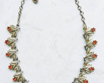 Vintage Amber Crystal and Silver Leaf Necklace