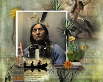 Native American Indian scrapbook kit,feathers, arrows, Indian chief head dress, native pottery, spears,Native Indian tools