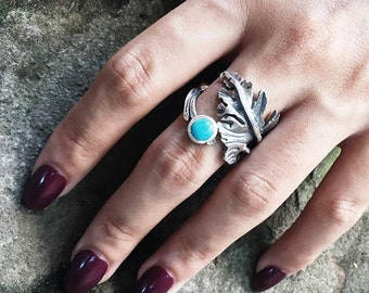 handmade silver leaf rings with gem stone