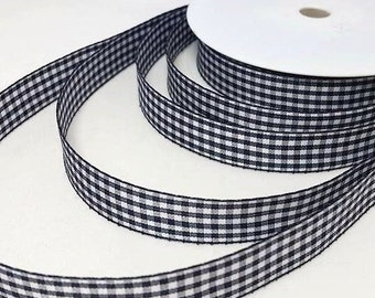 By the metre Gingham Navy Blue 16 mm Ribbon, Gingham Ribbon, 16 mm Navy Blue Ribbon, Navy Blue Gingham, 16 mm Ribbon, Navy Blue Ribbon