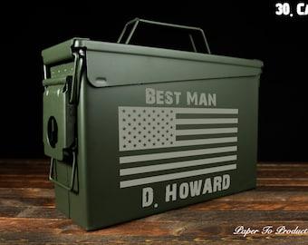 Personalized 30 Cal Ammo Box Custom Engraved Monogram For Gift Present Groomsmen Bridesmaid