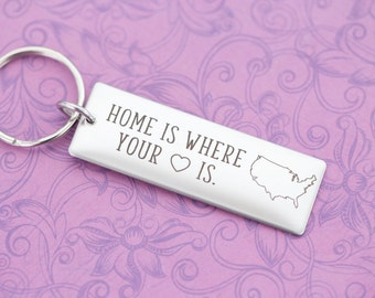 Home is Where Your Heart Is - Deployment - Long Distance - Engraved Jewelry - Custom Engraving