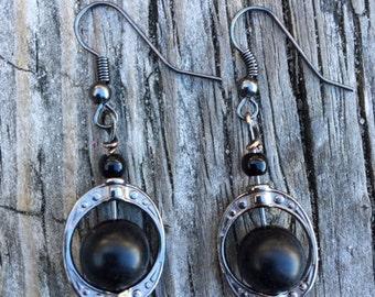 Black Bead& Saturn Ring Earrings.  MC0131