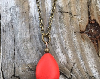 Red Brown Agate Necklace. BC0158