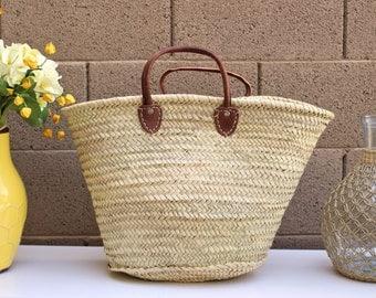 Short Handle French Market Tote, French Basket, Straw Beach Bag, French Market Tote, Picnic Basket, Ecofriendly Bag, Shopping Basket,