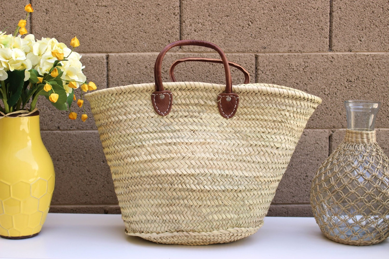 Short Handle French Market Tote French Basket Straw Beach