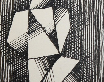 Avant Garde Cubist Ink Drawing