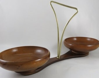 Vintage Rothschild Giftwoods Mid Century Snack Server - Wood and Brass Danish Modern Snack Set w/ Bowls