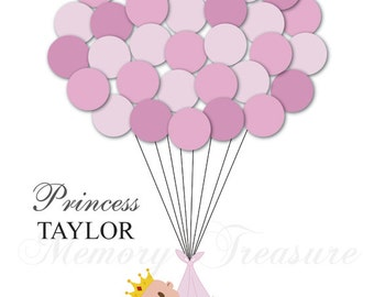 Princess Baby Shower Guestbook Alternative Guest Sign In Ideas Blanket Balloons Poster Print Guest Sign Personalized Princess Crown Baby