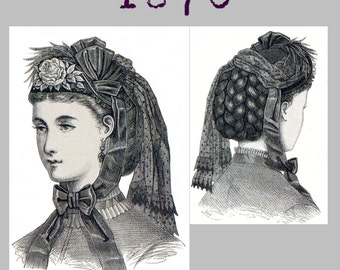 Bonnet  - Victorian Reproduction PDF Pattern - 1870's - made from original 1870 pattern